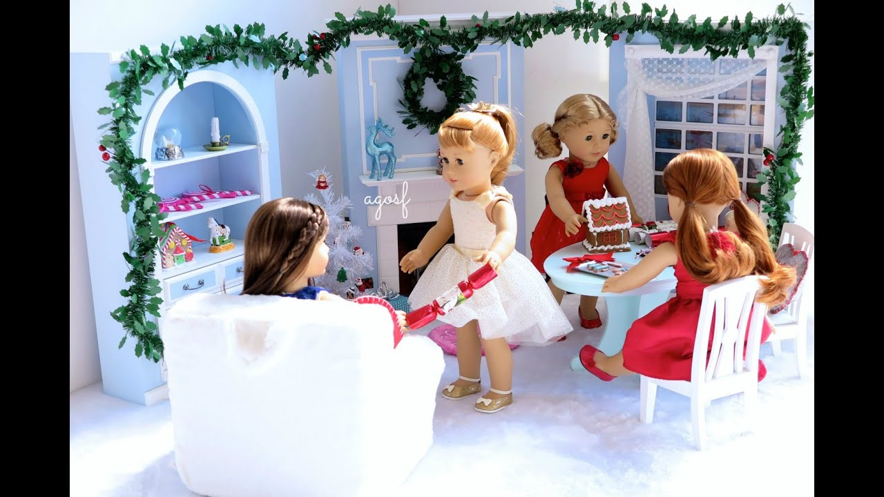 American Girl Doll Christmas/Holiday Room ~ HD! - YouTube