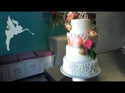 4 Etagen Hochzeitstorte Mit Aufwändiger Deko & Echten Blumen - Hochzeitstorten Making Of - Kuchenfee