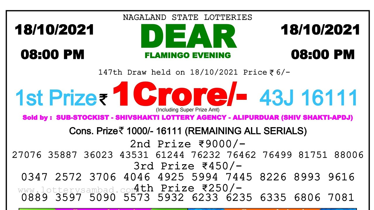Lottery Sambad Night 8pm 18.10.21 Nagaland State Lottery Result #lotterySambad