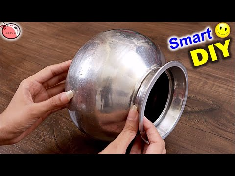 New Reuse Craft Idea 👉 Steel Matka || DIY Matki Decoration || DIY Room Decor || Handmade Craft