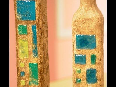 Reciclar botellas papel mache imitacion vidrios - Papel para vidrios ...