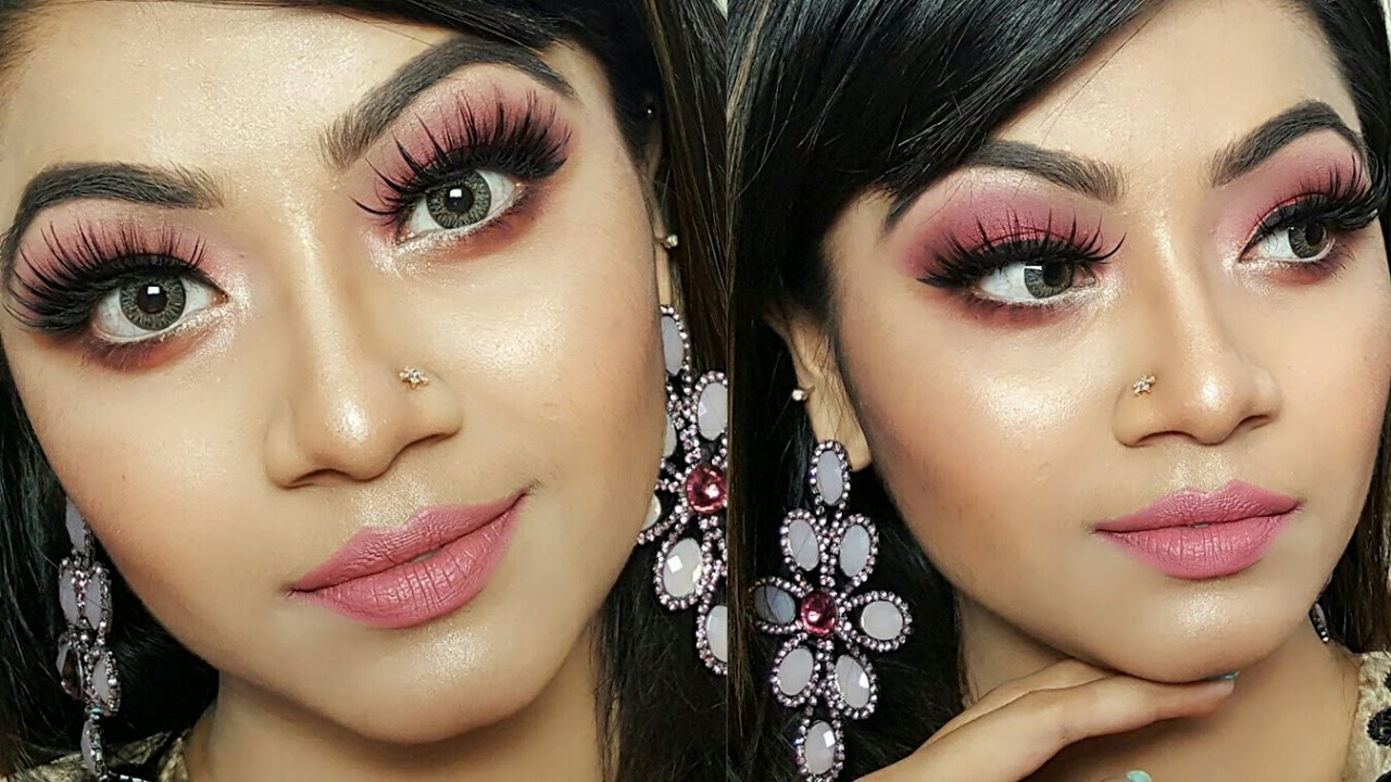 Pink Shimmery Eye Makeup Tutorial | Wedding Guest/Party Makeup || Makeup Maniac By Linda - YouTube