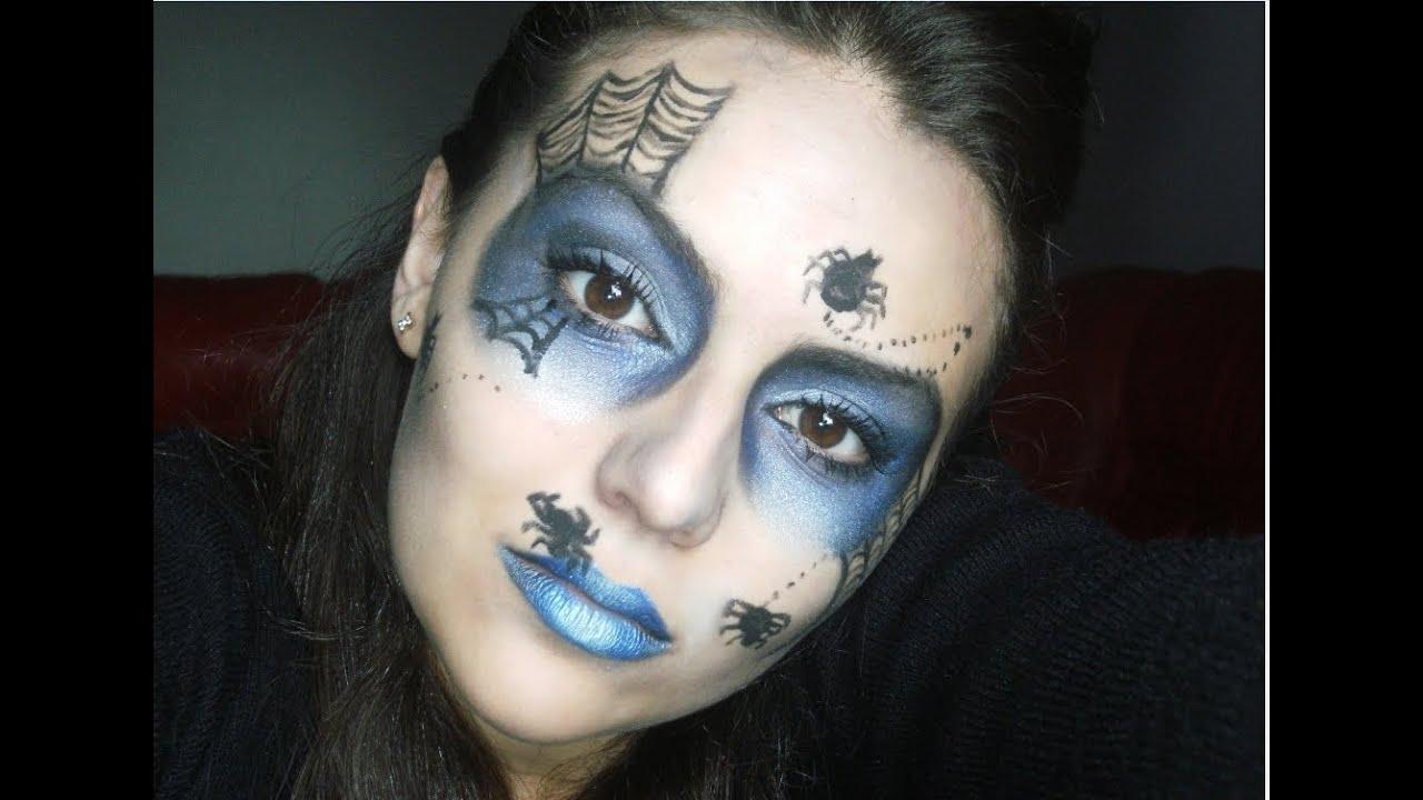 Make artistica aranha negra para halloween youtube for Pinturas de cara para halloween