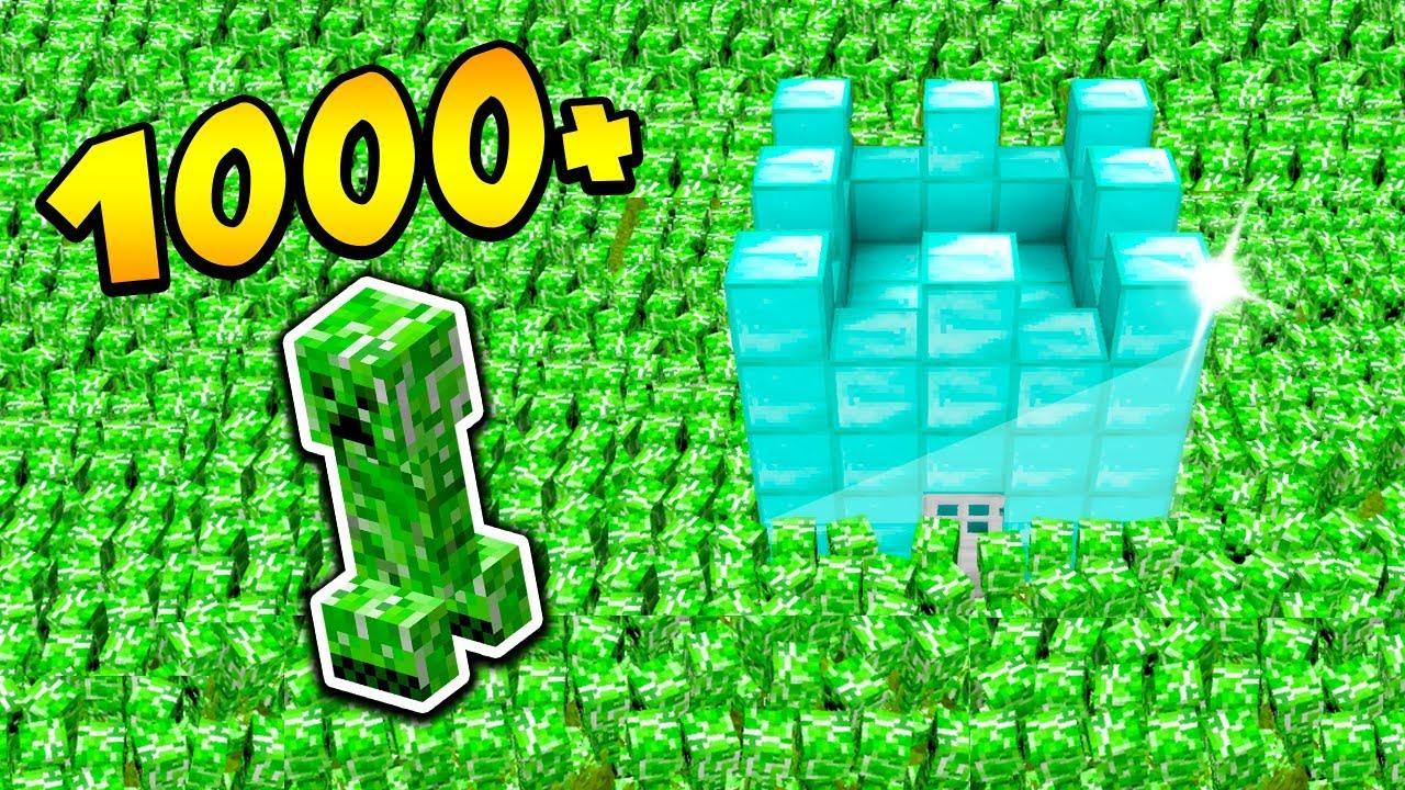 1000 CREEPERÓW vs DIAMENTOWY DOM!! – MINECRAFT APOKALIPSA #1