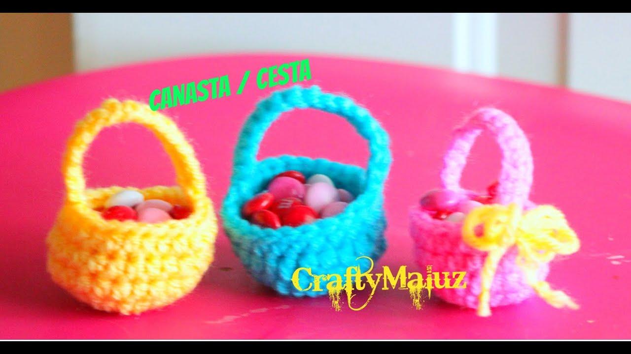 Crochet tutorial canastas tejidas en crochet paso a paso - Decorar cestas de mimbre paso a paso ...