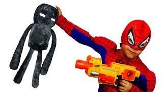 Игры Майнкрафт! Человек паук против Крипера и Эндермена!