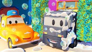 Кристофер бетономешалка - Автомойка Эвакуатора Тома в Автомобильный Город 💧 детский мультфильм
