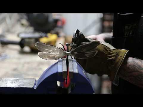 Metalworking Blacksmithing a dragonfly metal art sculpture forging