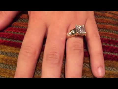 3 ct Princess Highest Quality Cubic Zirconia Gold Engagement Ring
