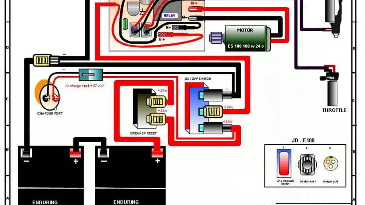 e scooter wiring diagram 2000 jeep wrangler stereo razor e100 - youtube