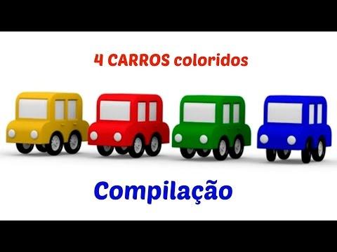 As cores para crianças. 4 carros coloridos. Coleçao de desenhos animados