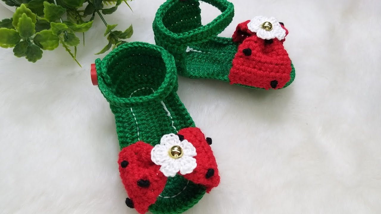 Sandalias  Sandía  tejidas a crochet