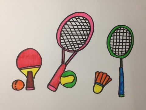 วาดรูประบายสีการ์ตูนน่ารัก I วาดอุปกรณ์กีฬา I วาดการ์ตูนสำหรับเด็กเล็ก