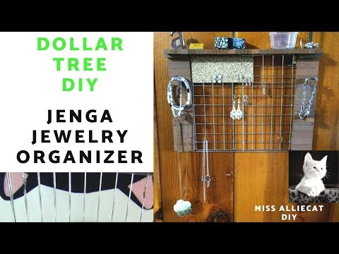 Diy Jewelry Organizer Using  Dollar Tree Jenga Blocks and Cooling Racks 2019