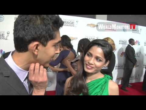 Frieda Pinto, Dev Patel arrive and interviewed at 44th NAACP Image Awards