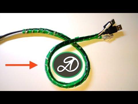 Спиральный жгут для проводов из пластиковых бутылок. Органайзер для кабеля из ПЭТ ленты