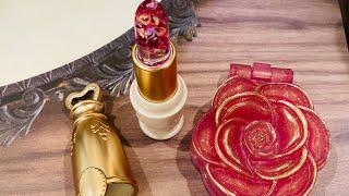 ご覧頂きありがとうございます。 前日開封した福袋の制作動画です。 GreenOceanさんの薔薇のコンパクトとルージュを作りました。 入っていた材料だけで作っています。