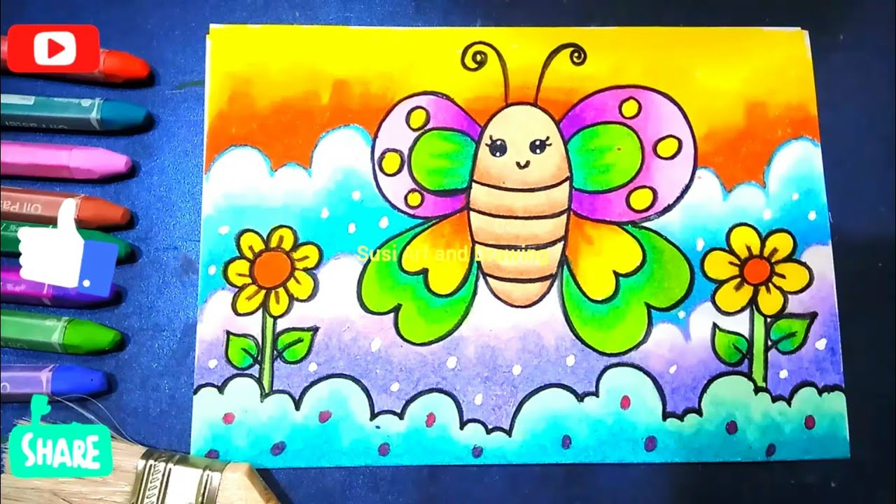 Cara Menggambar mewarnai Kupu-Kupu mudah untuk anak TK, coloring butterfly
