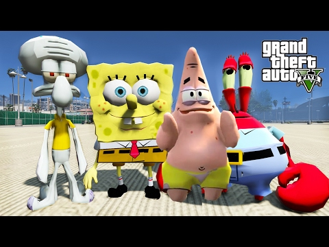 GTA 5 SPONGEBOB PATRICK MR.KRABS SQUIDWARD MOD - SAVING MR.KRABS BUSINESS EP.3