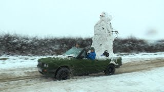 We Built a Snowman on the car and went for drive haha.
