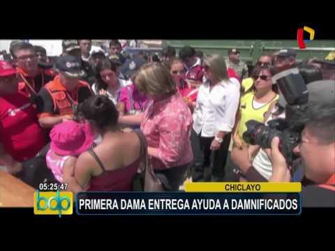 Chiclayo: primera dama entrega ayuda a damnificados por fuertes lluvias