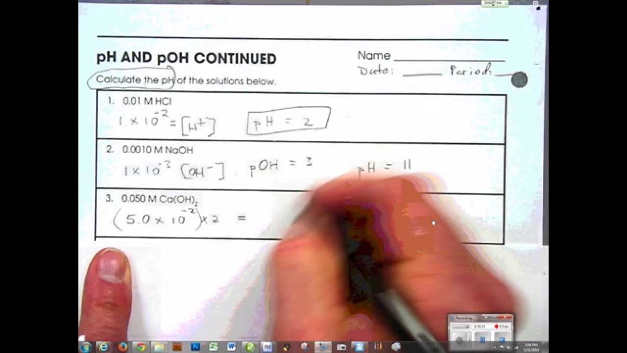 pH pOH introduction to calculations part2 YouTube – Ph and Poh Worksheet