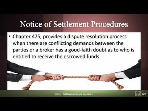 Rowlett Real Estate School - Florida Real Estate Rules Regarding Settlement Procedures