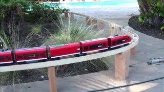 Outdoor custom LEGO train tracks for a lego train 7938