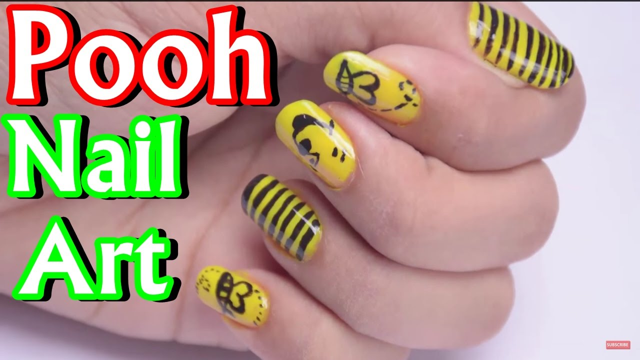 Diy Winnie The Pooh Nail Art Design Tutorial Youtube