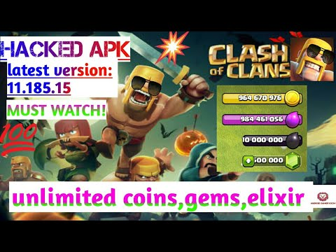 Download Clash Of Clans Mod Or Hacked Apk Latest Version 11.185.15, Unlimited Coins,gems,elixir.