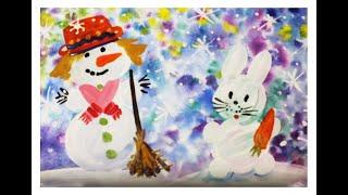 Как нарисовать снеговика гуашью поэтапно.  Видео урок рисования для детей 4-6 лет.