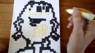 Рисуем жёлтый M&M's по клеточкам/Как нарисовать жёлтый M&M's/Видеоурок#5/Рисуем с Yulya Meow