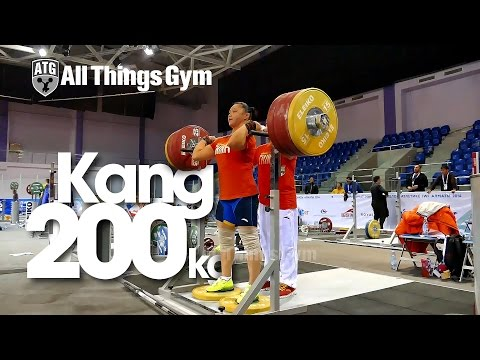 Yue Kang 200kg Front Rack Support Almaty 2014 Worlds Training Hall