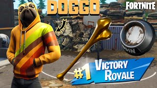 "*NEW* PUG ""DOGGO"" SKIN & GOLDEN CHEW TOY PICKAXE Gameplay! (Fortnite Season 9)"
