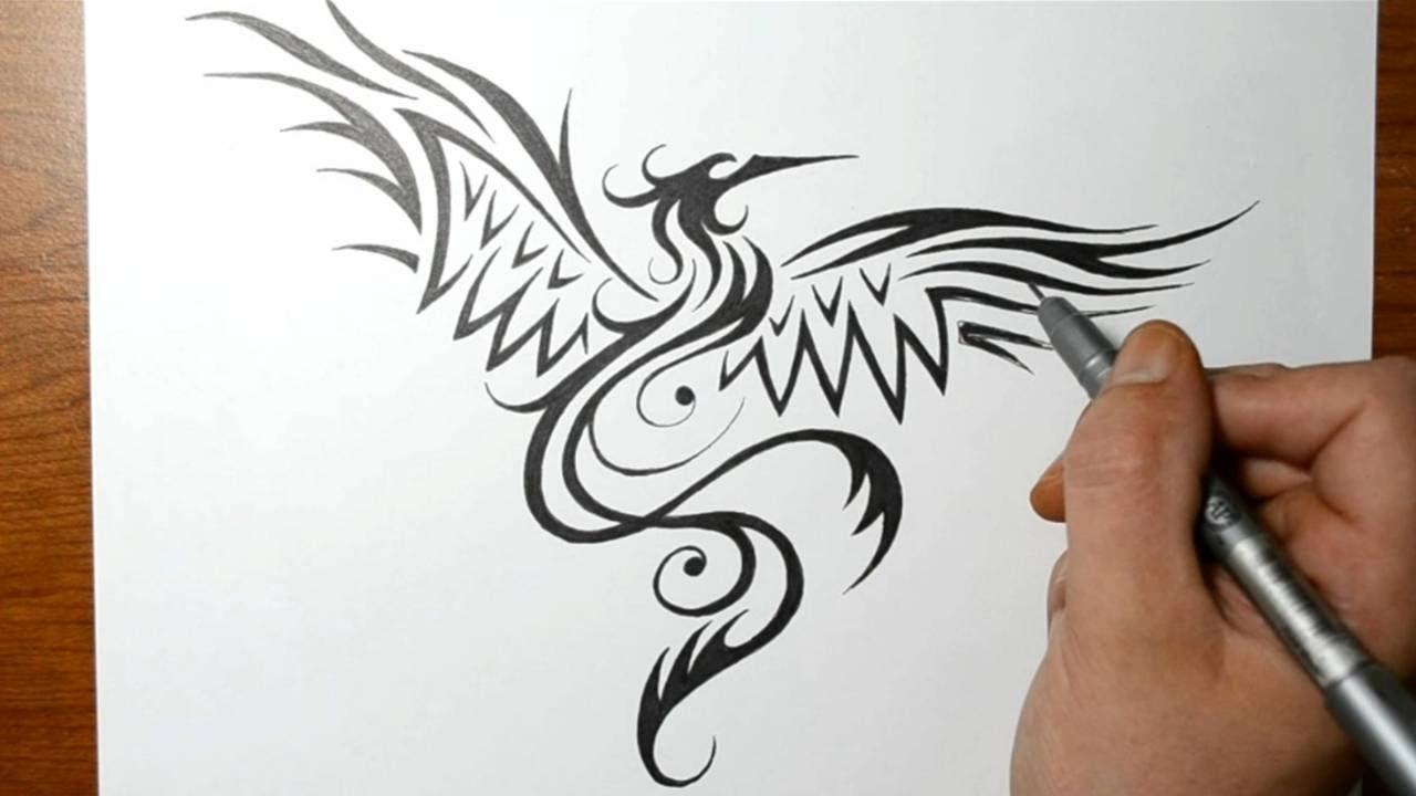 how to draw a phoenix bird tribal tattoo design style youtube. Black Bedroom Furniture Sets. Home Design Ideas
