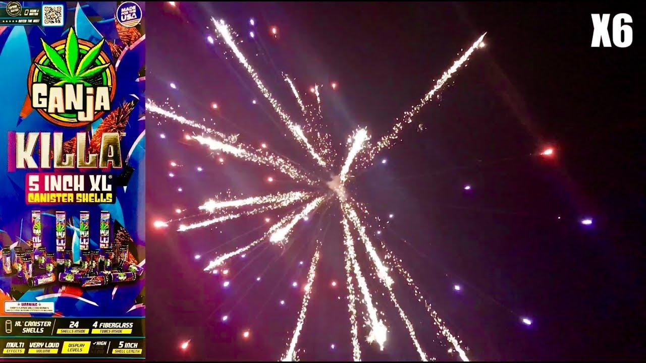 """Ganja Killa 5"""" XL Canister Shells - Red Apple Fireworks"""