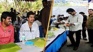 Thalapathy Vijay sarkar Briyani Treat   Vijay Birthday Celebration With Fans