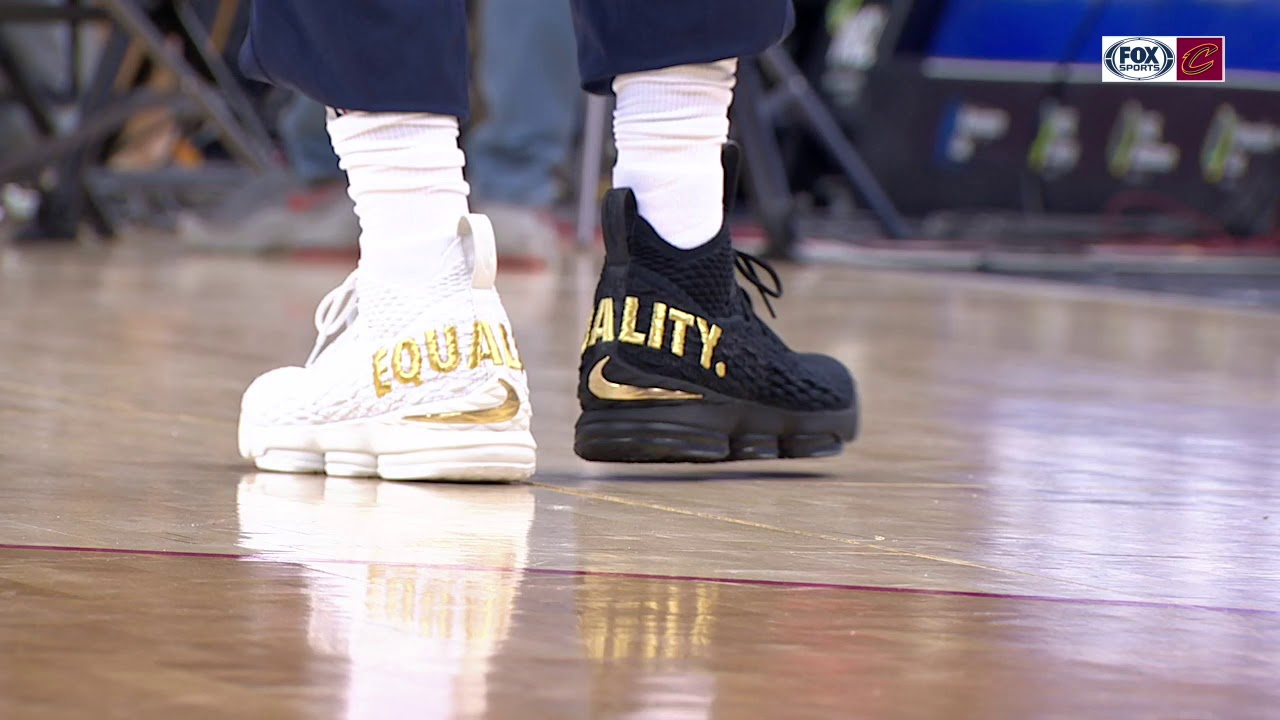lebron james wearing special equality shoes for game in