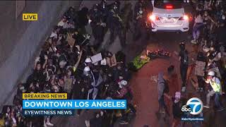 Protesters, police face off in downtown LA   ABC7