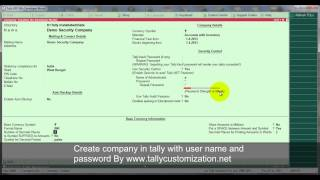 Create Company with id and password in tally .erp 9