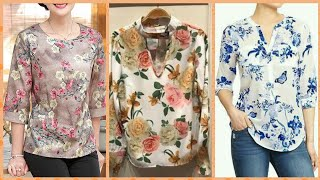 Beautiful stylish long sleeves short length casual wear and office working women printed shirts 2019