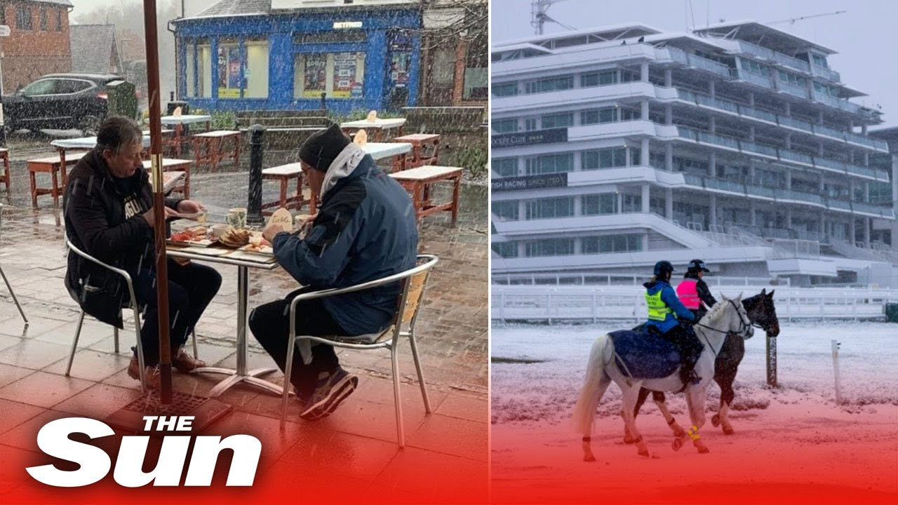 Snow hits UK as Pub Beer Gardens Reopen in England