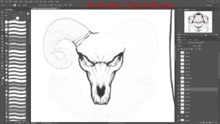 Demon Ram Skull Drawing