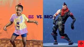 Fortnite Dance Challenge In Real Life Season 1-5 Sis vs Bro