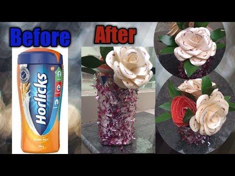 #stylishflowerpot Home decor items from plastic jar / vase of Horlicks jar / reuse of plastic jar