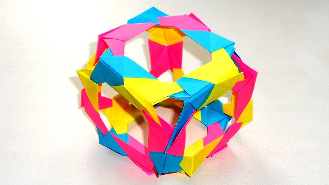 Оригами куб из бумаги. Origami Skeletal Cube
