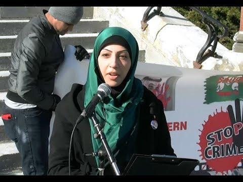 Berak Hussain at Parliament Hill during Protest rally in Ottawa against Illegal Saudi war on Yemen