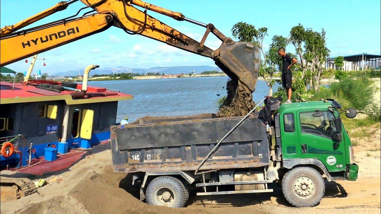 Máy Xúc HYUNDAI Làm Việc, Xe Ô Tô Tải Ben Chở Cát | Excavator Truck | TienTube TV