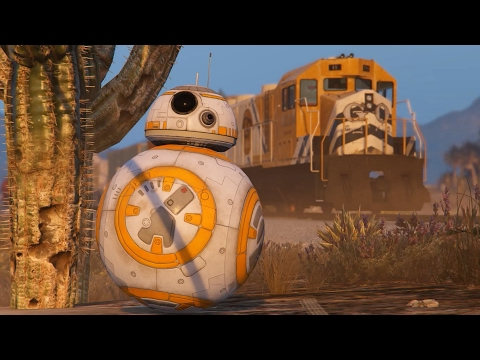 GTA V - CAN BB8 STOP THE TRAIN (STAR WARS)
