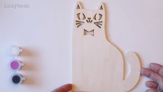 Cat Crafts - Paint Your Own Wood Sign - Painting A Black Cat - Boo!